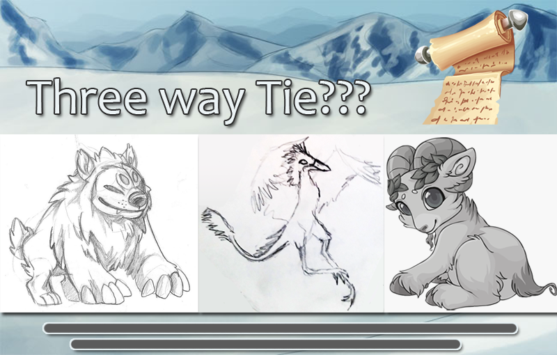 Three way tie? from left to right are pictured the concepts for the lion-bear, bird, and ram elons.