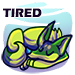 "A sleeping zorvic with green markings on a blue swirl background with the word ""Tired"" above."