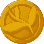 Golden coin with a leaf in the center