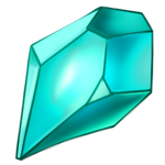 Blue green jewel shard finely cut and with a nice glow.