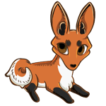 Modeled after a red fox with an orange base, black socks markings, and a white belly.
