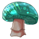 Mushroom with a blue green top with different lighter green marks appearing.
