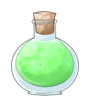 Green potion in a bottle.