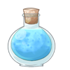 Blue potion in a bottle.