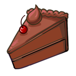 Chocolate cake slice with a cherry on top