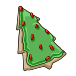 Pine tree sugar cookie with green frosting and red sprinkles