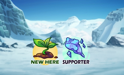 Winter landscape with two badge icons in the front. Plant sprout with new here text and elyte with supporter.