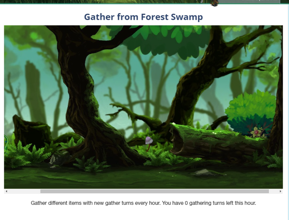 A swampy forest with a lot of greenery
