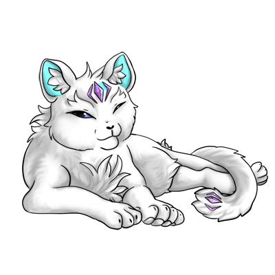 White nyrin with a smooth face, round ears, and long tail. Looks pretty content with purple gems and cyan inner ear.