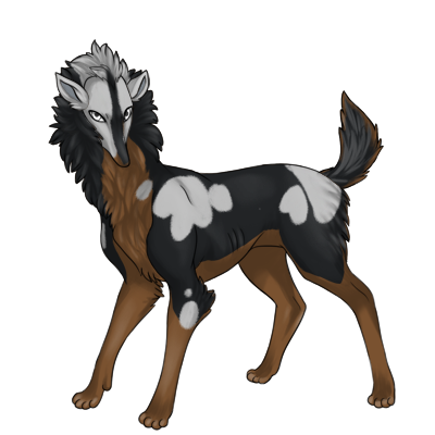 Brown Preat with black husky and gray patches overtop.
