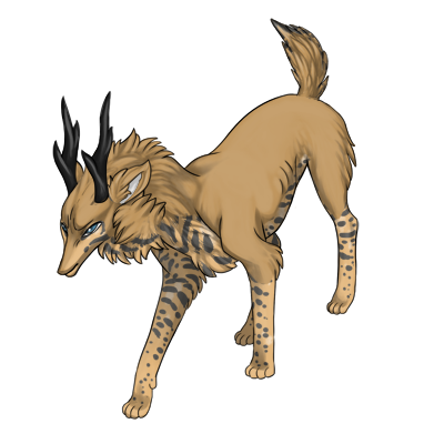 Tan preat in an aggressive fighting stance. Has husky over the dark ocelot in a similar color to the tan base.